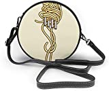 naotaori Bolso redondo mujer Noodles with Fork Women Soft Leather Round Shoulder Bag Zipper Circle Purses Sling Bag