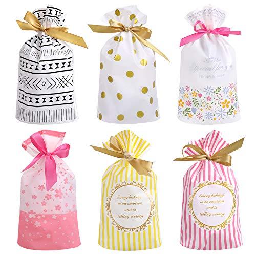 Anpro 60PCS Treat Taschen Party Favor Taschen Candy Cookies Kunststoff Kordelzug Geschenkbeutel Geschenkverpackung Paket für Geburtstagsfeier Hochzeit Baby Shower Weihnachten - 9,25x5,7 Zoll