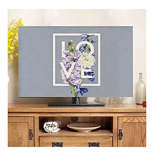 Impresión Reactiva y Teñido Cubiertas de Tv de Lino y Talla de Lino Sombreado Al Aire Libre, Cubiertas Universales de Televisión de 19 A 80 Pulgadas, Tv A Prueba de Polvo pa(Size:55in/W130CMxH80CM)