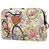 Bolsa de Maquillaje compacta Bolsas de cosméticos de Viaje portátiles para Mujeres niñas Neceser,Bicicleta de Letras Vintage