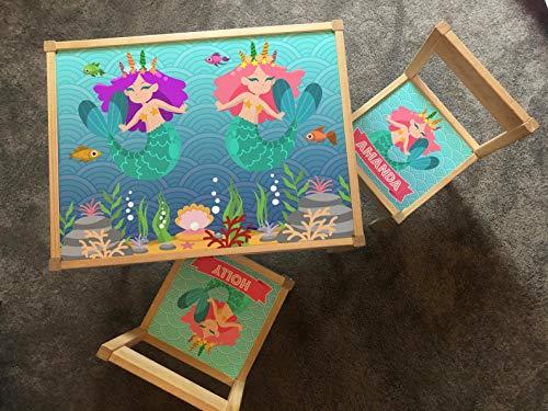 MakeThisMine Juego de escritorio personalizado para niños y 2 sillas con adhesivo Ikea LATT para niños, cualquier nombre, unicornio, princesa, arco iris, mapa, cuento de hadas, niña y amigas (sirena)