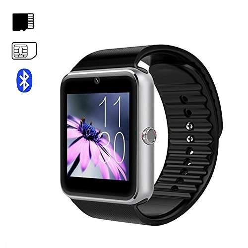 Bluetooth Smart Watch con SIM/TF Card Slot Fotocamera e Musica Touchscreen Smart Orologio Intelligente Braccialetto Sportivo Fitness con Pedometro,Sonno Monitor,Notifiche Chiamate&SMS GT08(Argento)
