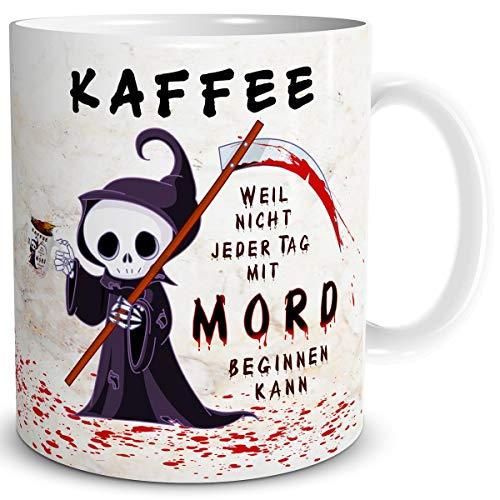 TRIOSK Tasse Kaffee Mord mit Spruch lustig Kaffeeliebe Fun Horror Geschenk für Arbeit Büro Männer Frauen Freundin Kollegen Geburtstag Beige