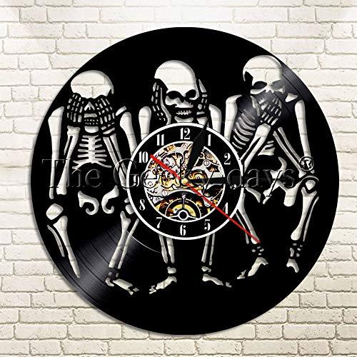 Evil Skull Vinyl Wanduhr Do Not Seewood Tischlampe NachttischlampeBatterietischlampe