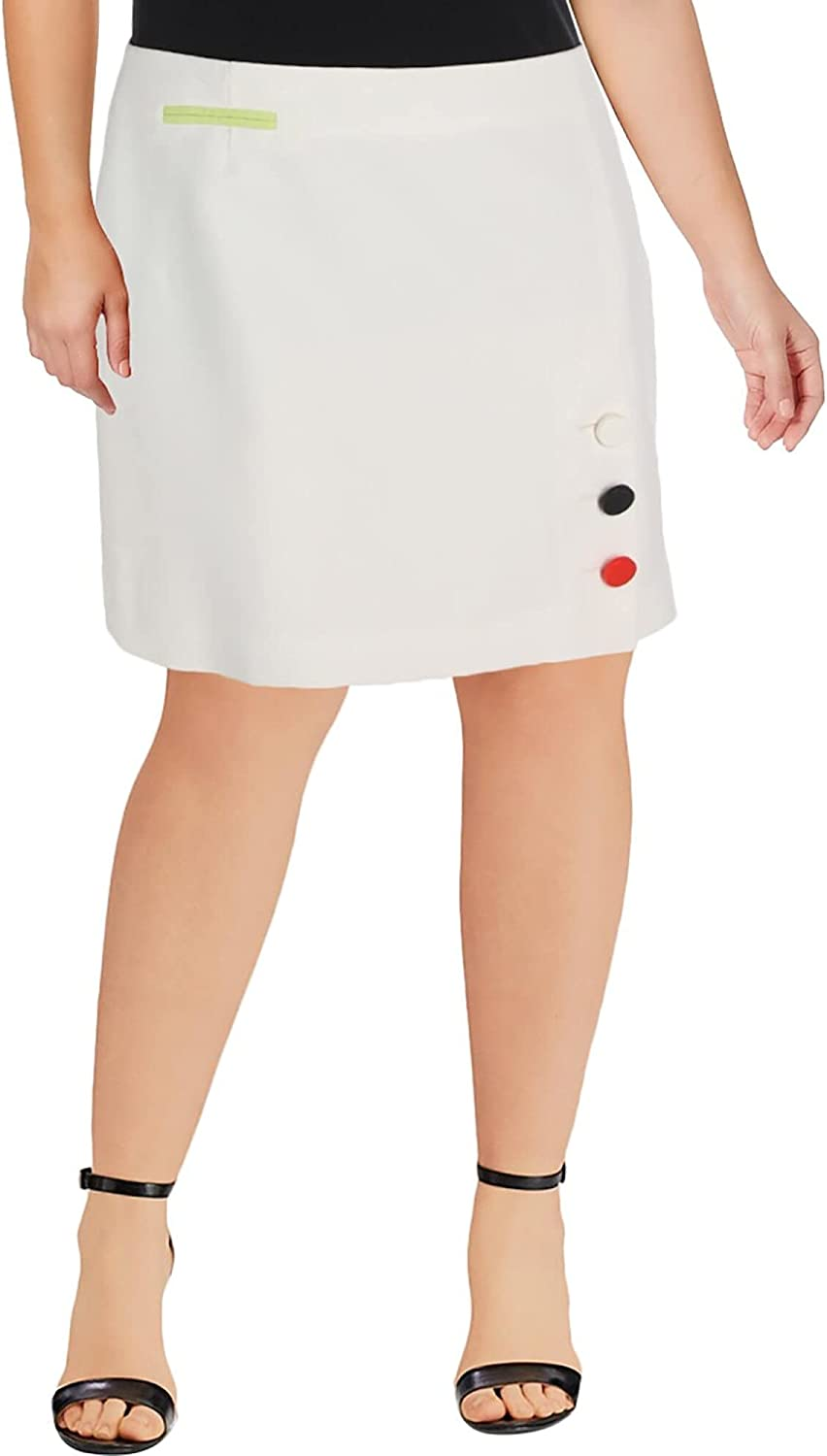 Anne Klein Womens Ivory Embellished Above The Knee A-Line Wear to Work Skirt Size 14