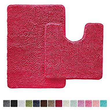 Gorilla Grip Original Shaggy Chenille Bathroom 2 Piece Rug Set Includes Mat Contoured for Toilet and 30 x 20 Carpet Rugs, Machine Wash/Dry, Perfect Plush Mats for Tub, Shower, Bath Room (Hot Pink)