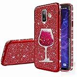 nadoli galaxy j6 plus cover,glitter diamante brillante luccicante custodia ragazza con 3d fluente sabbie mobili bicchiere di vino case per samsung galaxy j6 plus