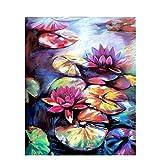 DIY「Flower water lily」Pintar por números para adultos Niños Kits de pintura digital por números El mejor juego para padres e hijos Sin marco -40x50cm
