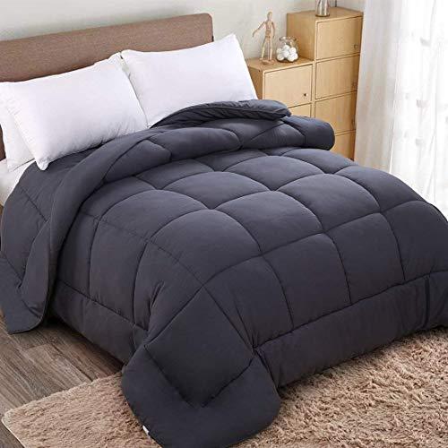 WARM HARBOR All Season Down Alternative Quilted Comforter and Duvet Insert - Luxury Hotel Collection Premium Lightweight (Twin, Grey)