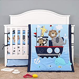 Nautical 7 Piece Baby Crib Bedding Sets for Boys Girls Cotton Baby Nursery Bedding (Navy Blue) Whale Elephant Lion