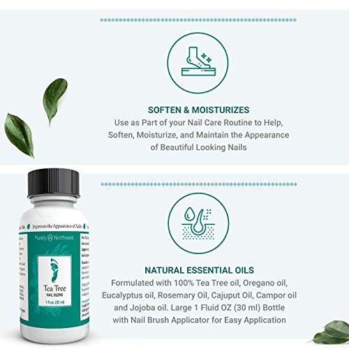 Tea Tree Oil Nail Blend- Natural Toenail Care Solution to Help Renew Dull Looking Finger & Toenails 1 FL OZ...