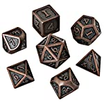 HEIMDALLR Metal DND Dice Set 7 PCS - Dungeons and Dragons Polyhedral Dice Set with D&D Dice Bag for RPG Gaming - Includes D20 - Blacksmith Craft Dice (Burnished Bronze) 6