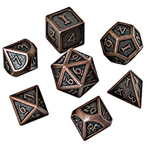HEIMDALLR DND Dice Set 7 PCS – Metal Dungeons and Dragons Polyhedral Dice Set with D&D Dice Bag for RPG Gaming – Includes D20 – Blacksmith Craft Dice (Burnished Bronze)