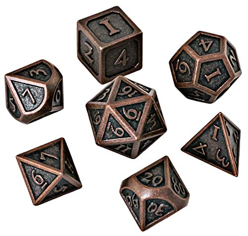 HEIMDALLR Metal DND Dice Set 7 PCS - Dungeons and Dragons Polyhedral Dice Set with D&D Dice Bag for RPG Gaming - Includes D20 - Blacksmith Craft Dice (Burnished Bronze) 3