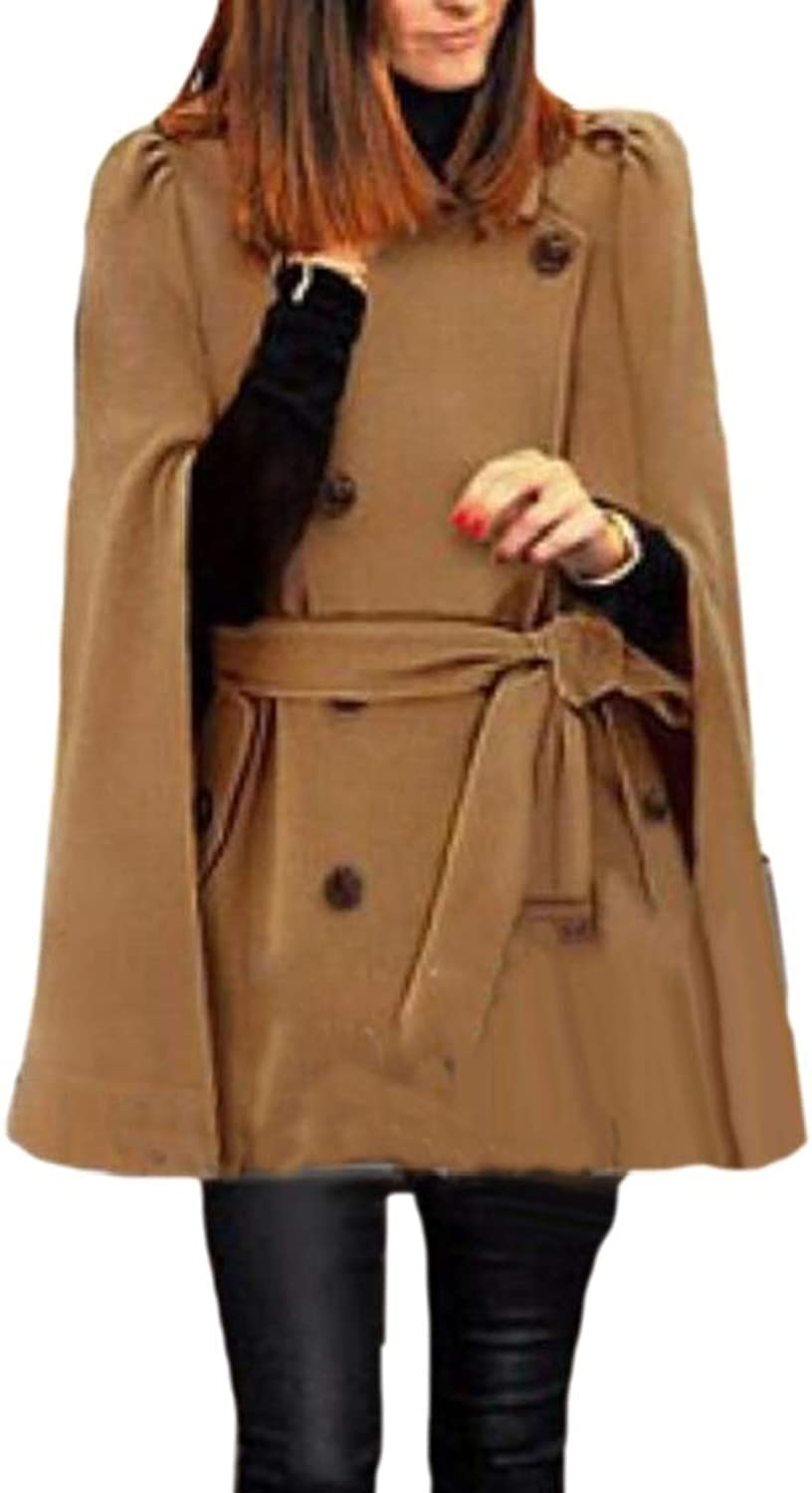 Generic Womens Poncho Cloak Double Breasted Wool Blend Pea Coats with Belted