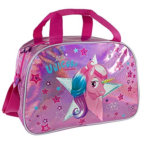 PERLETTI Borsa Sport Unicorno Bambina con Glitter Rosa - Borsone Palestra Bambine con Tracolla Viaggi Tempo Libero - Sacca Sportiva Bimba Catarifrangente con Stelle - 28x41,5x21 cm (Unicorno)