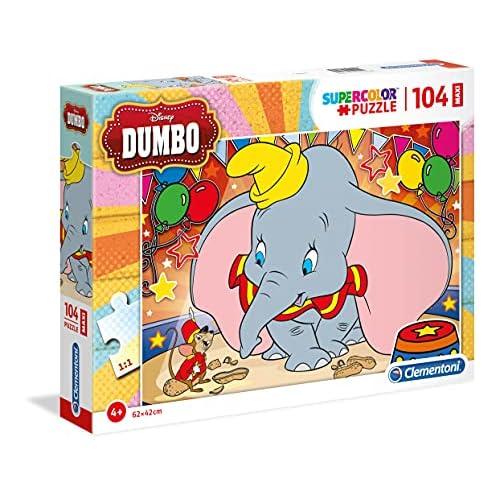 Clementoni- Supercolor Puzzle-Dumbo-104 Pezzi Maxi, Multicolore, 23728
