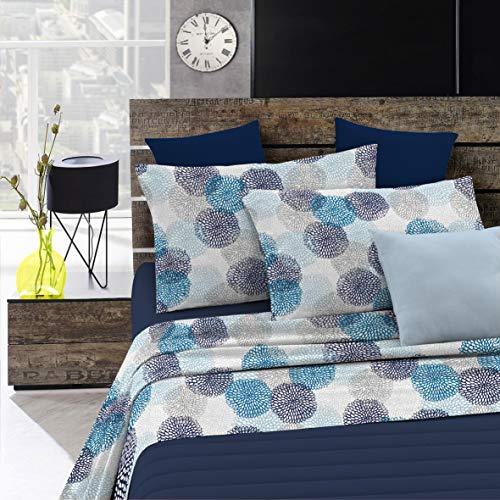 Italian Bed Linen Fantasy Completo Letto, Microfibra, Multicolore (Soffioni Blu), Matrimoniale