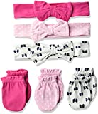 Product Image of the Hudson Baby Unisex Cotton Headband and Scratch Mitten Set, Bows, 0-6 Months