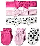 Hudson Baby Unisex Cotton Headband and Scratch Mitten Set, Bows, 0-6 Months
