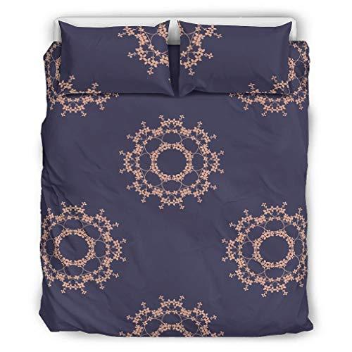 Bohohobo Conjuntos Retro 3 Piezas Almohada Flores Confort Fundas Estilo Europeo Color Oscuro Decorativo Cama Almohada Conjunto Blanco 229x229cm