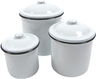 Rustic 3pc White Enamel Kitchen Canister Set Vintage Countertop Food Storage Decor