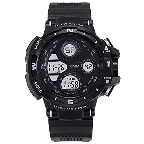 XIN Reloj del ejército Impermeable Multifuncional Luminoso Tendencia Reloj electrónico de los Hombres del Reloj de los Deportes de los Hombres (Negro)
