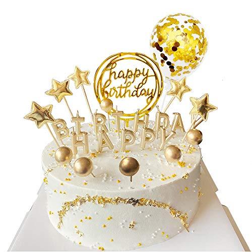 BluVast Tortendeko Gold, Tortendeko Geburtstag, Happy Birthday Cake Topper, Happy Birthday Kerzen Sterne Ball Konfetti Luftballon Kuchendeko Tortenaufsatz Kuchendekoration Geburtstag