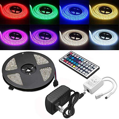 ELENKER LED Strip Lights Kit, Flexible Color Changing 5050 SMD RGB 150 LEDs 16.4ft 5m with 44 Keys IR Remote Control and 12V Power Supply for DIY Home Bedroom Kitchen Decoration Lighting
