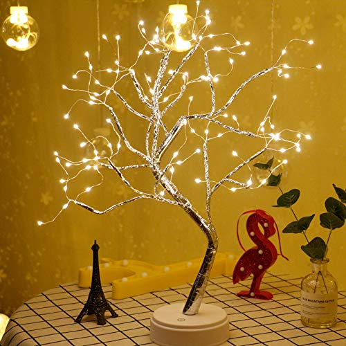 20' 108LED Firefly Bonsai Tree Lights Artificial Fairy Tree USB/Battery-Powered Touch Switch White Warm Lights Tree Lamp for Friends Christmas Wedding Party Decorations