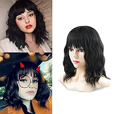 14inch Short Wave Wigs With Bangs Shoulder Length Curly Synthetic Colorful Pastel Hair Cosplay Wigs