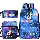 Tik Tok heat transfer backpack student school bag + small shoulder bag + pen bag three-piece set-Blue_starry_sky_29cm*16cm*42cm+21cm*6.5cm*24cn+21cm*10cm