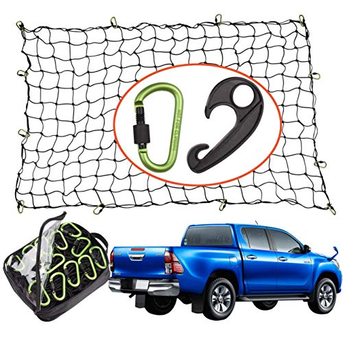 Seah Hardware 4 x 6 FT Super Duty Bungee Cargo Net for Truck Bed Stretches to 8 x 12 FT | 24 Pieces Universal Hooks| Small 4 x 4 Inches Mesh| Universal Heavy Duty Car Rear Organizer Net