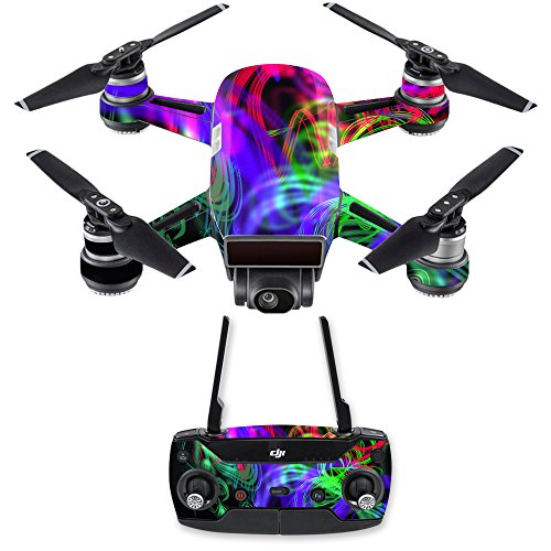 MightySkins Skin Compatible with DJI Spark Drone & Controller - Neon Splatter | Protective, Durable, and Unique Vinyl Decal wrap Cover | Easy to Apply, Remove, and Change Styles | Made in The USA