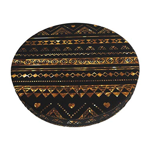 Round Bar Stools Cover,Aztekisches Schwarzes Lametta Gold,Stretch Chair Seat Bar Stool Cover Seat Cushion Slipcovers Chair Cushion Cover Round Lift Chair Stool