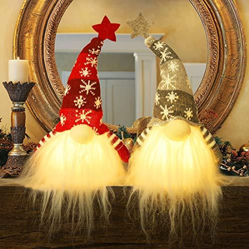 Juegoal 11' Lighted Christmas Gnome Santa, Handmade Plush Scandinavian Swedish Tomte, Light Up Elf Toy Holiday Present, Battery Operated Winter Tabletop Christmas Decorations, 2 Set