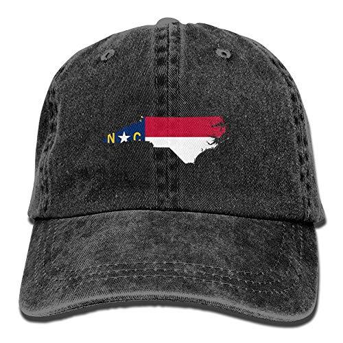 Wdskbg Mapa de la Bandera de Carolina del Norte Gorras de béisbol Ajustables Unisex Denim Sombreros Cowboy Deporte Moda al Aire libre1