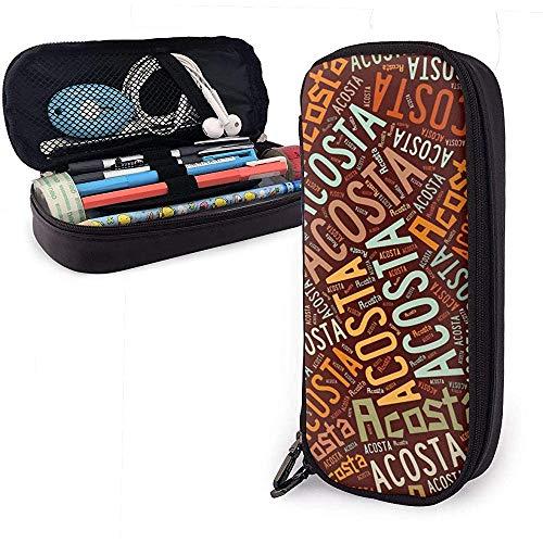Acosta - Apellido americano Estuche de cuero de gran capacidad Estuche de lápices Estuche de lápices Papelería Organizador Bolígrafo escolar Bolso de cosméticos portátil