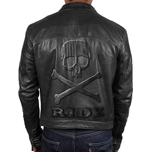 Feather Skin Männer Kleidung Slim Fit Schwarz Motorbike Vintage Echte Lederjacke Skull Embossed Logo- 3XL