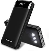 Power Bank Portable Charger 25000mAh High Capacity 3 USB Outputs Black Charge External Battery Pack with LCD Display, Compatible with Smart Phones,Android Phone,Tablet and More