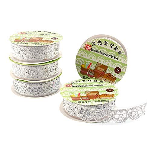 5 cintas de encaje autoadhesivas para manualidades, decoración de bodas, manualidades, envoltorios, regalos, ancho 1,8 cm, multifuncionales