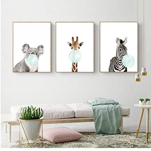 ArtWuDecor Leuke blauwe kauwgom dier zebra giraffe koala kangoeru canvas kunst abstract schilderij drukposter afbeelding wand decoratie lijst 35 cm x 50 cm x 3