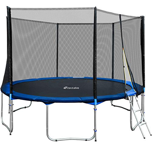 TecTake Outdoor trampoline complete with safety net enclosure padding ladder - different sizes - (Ø 457cm)<br/>