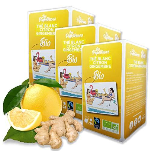 Les Papoteuses   Té blanco con limón y jengibre orgánico   certificado orgánico y comercio justo   Té orgánico 24 sobres   lote de 3 cajas