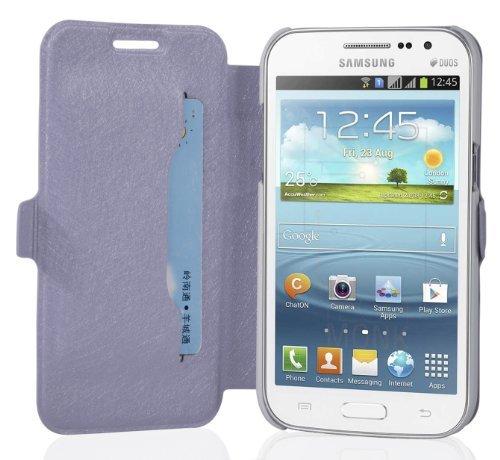 Preisvergleich Produktbild Cadorabo Hülle für Samsung Galaxy Win - Hülle in ICY Flieder Handyhülle mit Standfunktion und Kartenfach im Ultra Slim Design - Case Cover Schutzhülle Etui Tasche Book