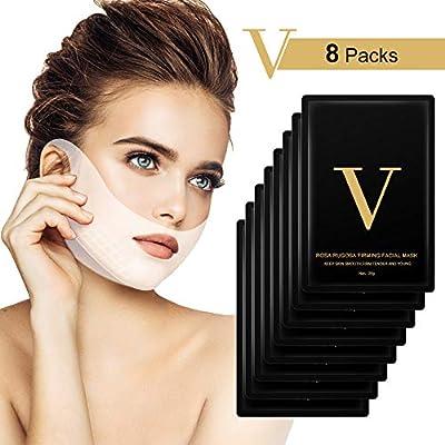 V Face Masks, HailiCare V Line Mask and Double Chin Reducer,V-shape Face Slimming Mask Face Lifting Mask, Facial Anti-Wrinkle Mask (8Pcs)