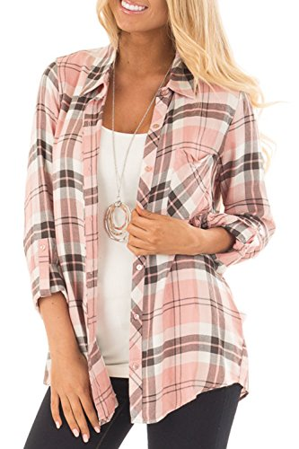 NUOREEL Womens Casual Plaid Soft Button Down Tops Roll Up Long Sleeve Cuffed Blouse Shirts (Small, Pink)