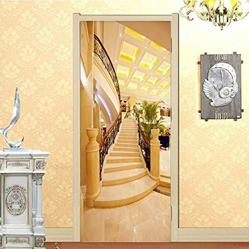 TMANQ Türtapete Selbstklebend Türposter Goldene Treppe Raumerweiterung 3D Bewirken Fototapete Türfolie Poster Tapete Abnehmbar Wandtapete Für Wohnzimmer Küche Schlafzimmer 86X200Cm Wandbild Wohnkultur