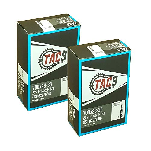 2 Pack - Tubes, 700c x 28-35 (27x1-1/8 to 1-1/4) PV 32mm Presta Valve, Bicycle Inner Tubes