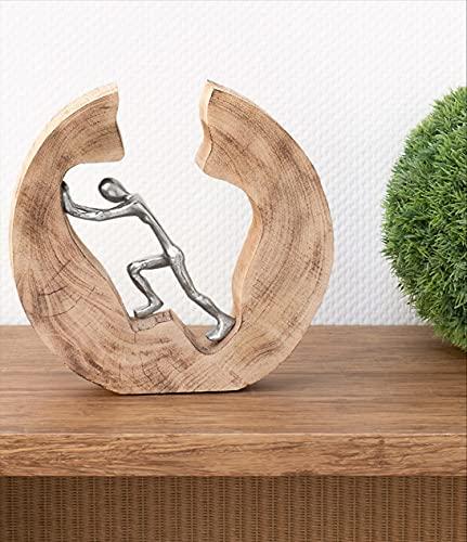 Moritz Skulptur Push and Work Mangoholz/Alu Massive Mangoholz - Baumscheibe Handarbeit 29,5 x 28 cm